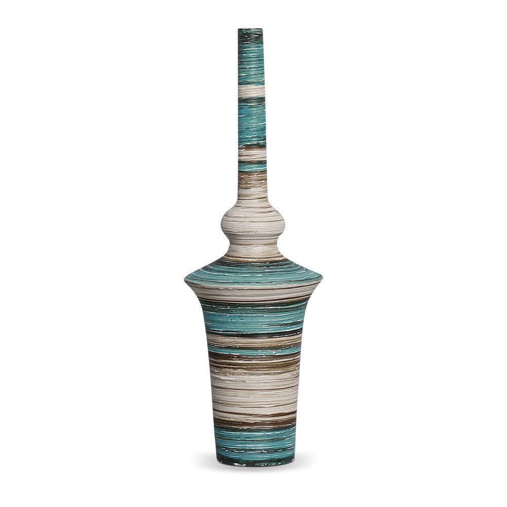 Garrafa Oriental G Decoração Cerâmica Azul e Palha Marrakesh