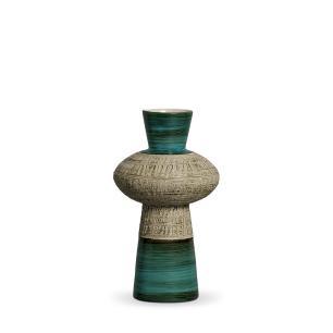 Vaso Fênix M Decoração Em Cerâmica Verde E Palha Dubai
