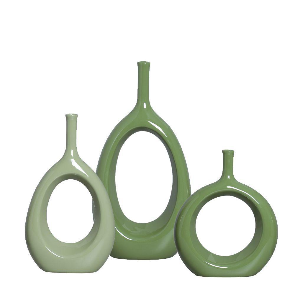 Garrafas Vazada Kit Enfeite De Mesa Decoração Cerâmica Verde