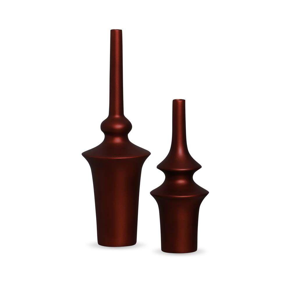 Garrafa Oriental Dupla Decoração Cerâmica Vinho Sensation