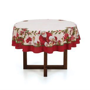 Toalha de mesa de Natal Redonda Karsten 4 Lugares Bons Amigos
