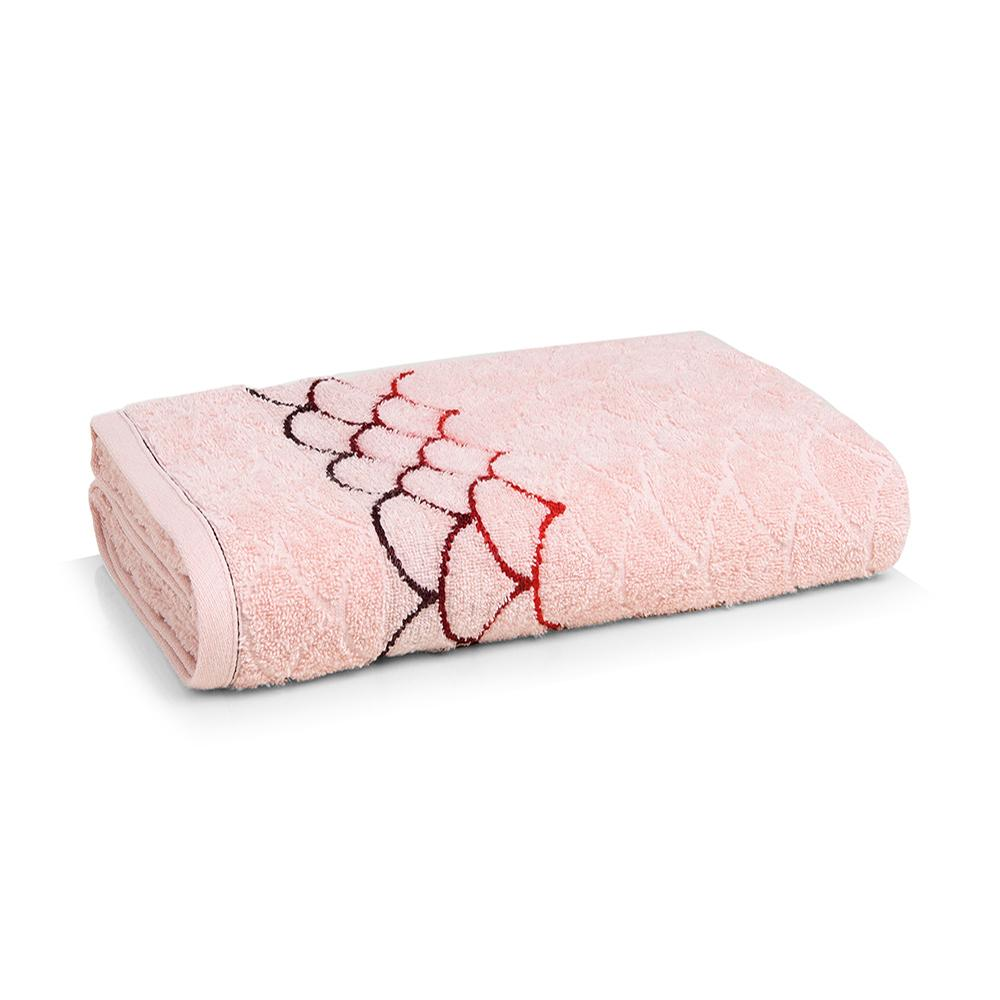 Toalha Banhão Karsten Fio Cardado Muriel Rosé/ Vermelho