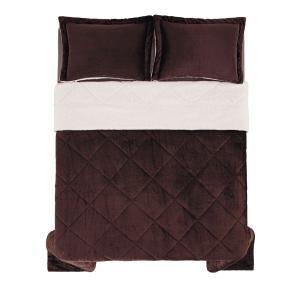 Edredom de Microfibra King Karsten com Porta Travesseiro Sonata Chocolate