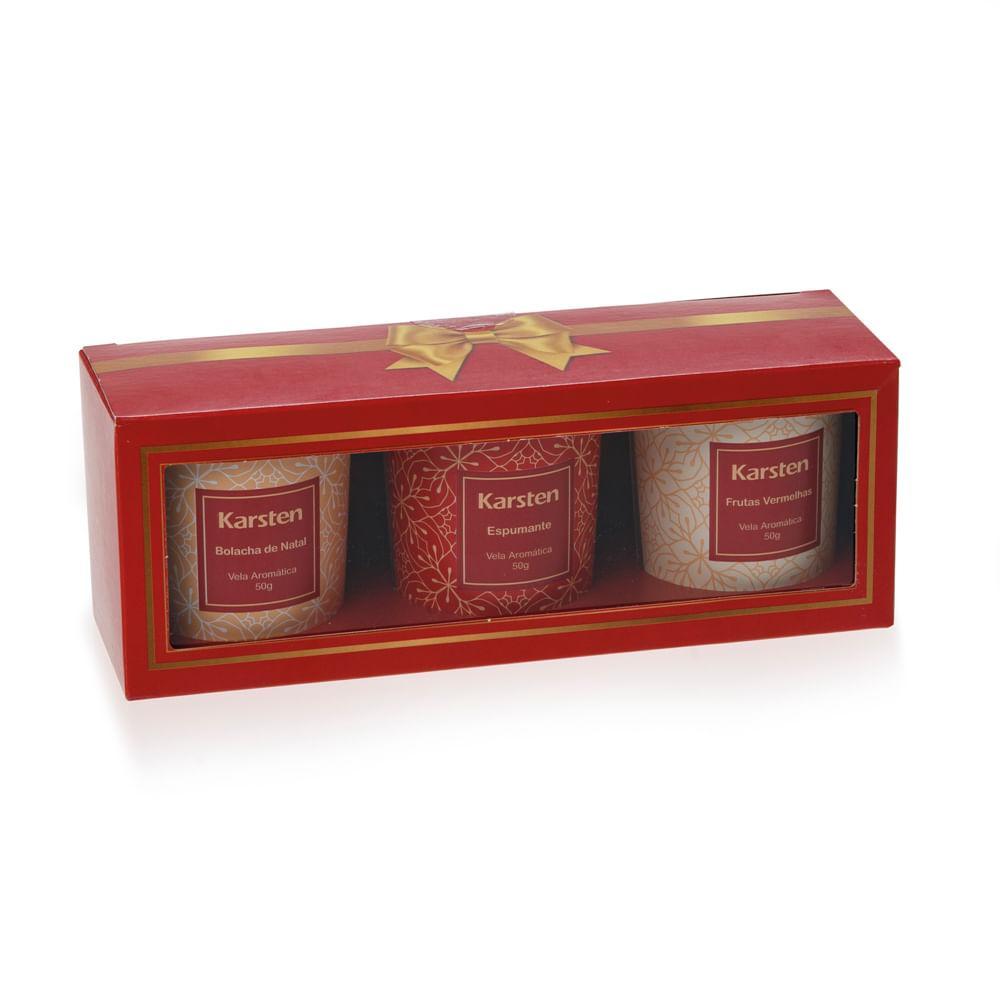 Kit Velas Perfumadas Karsten Natal Espumante, Ginger Bread e Frutas Vermelhas 150g