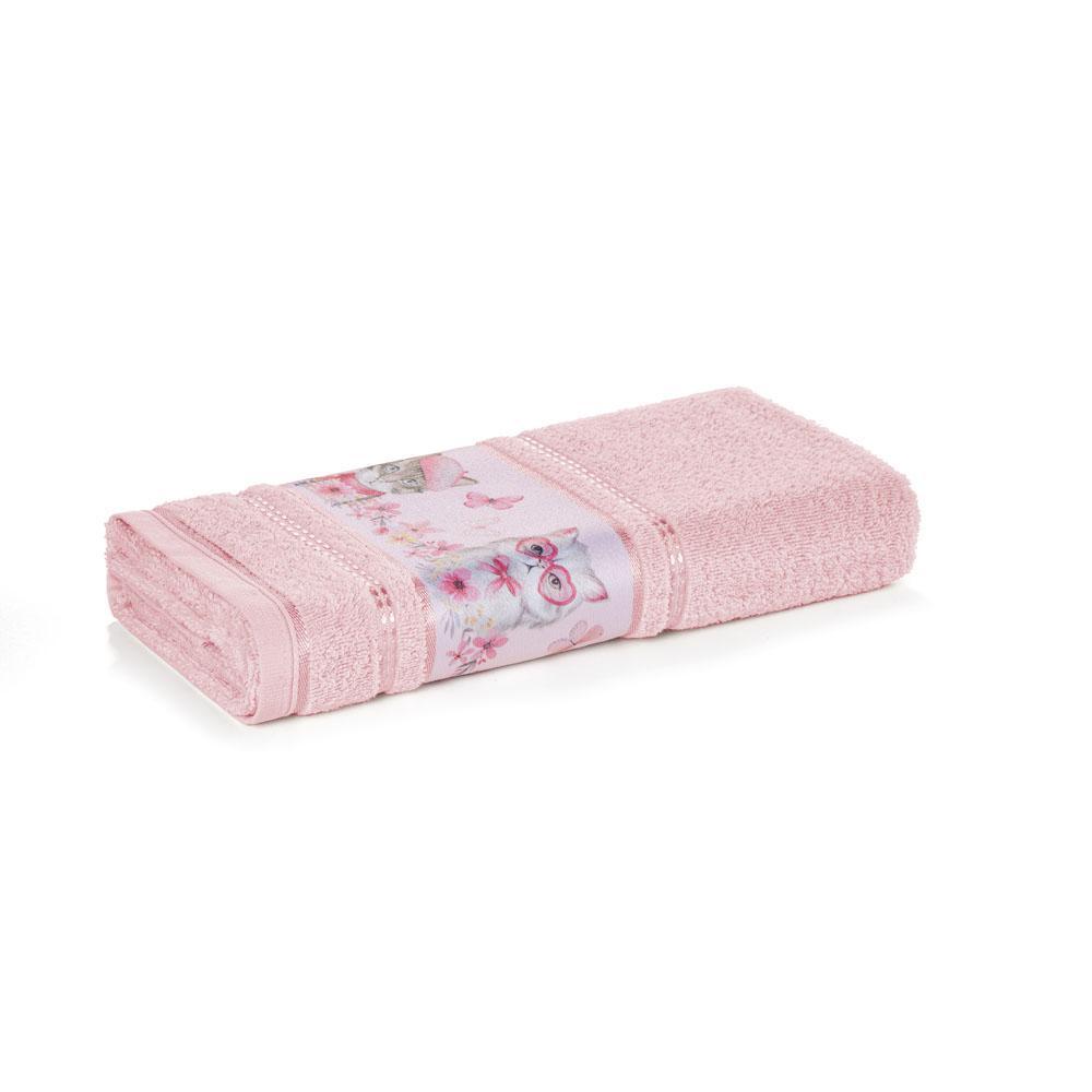 Toalha de Banho Infantil Fio Cardado Karsten Missi Rosé