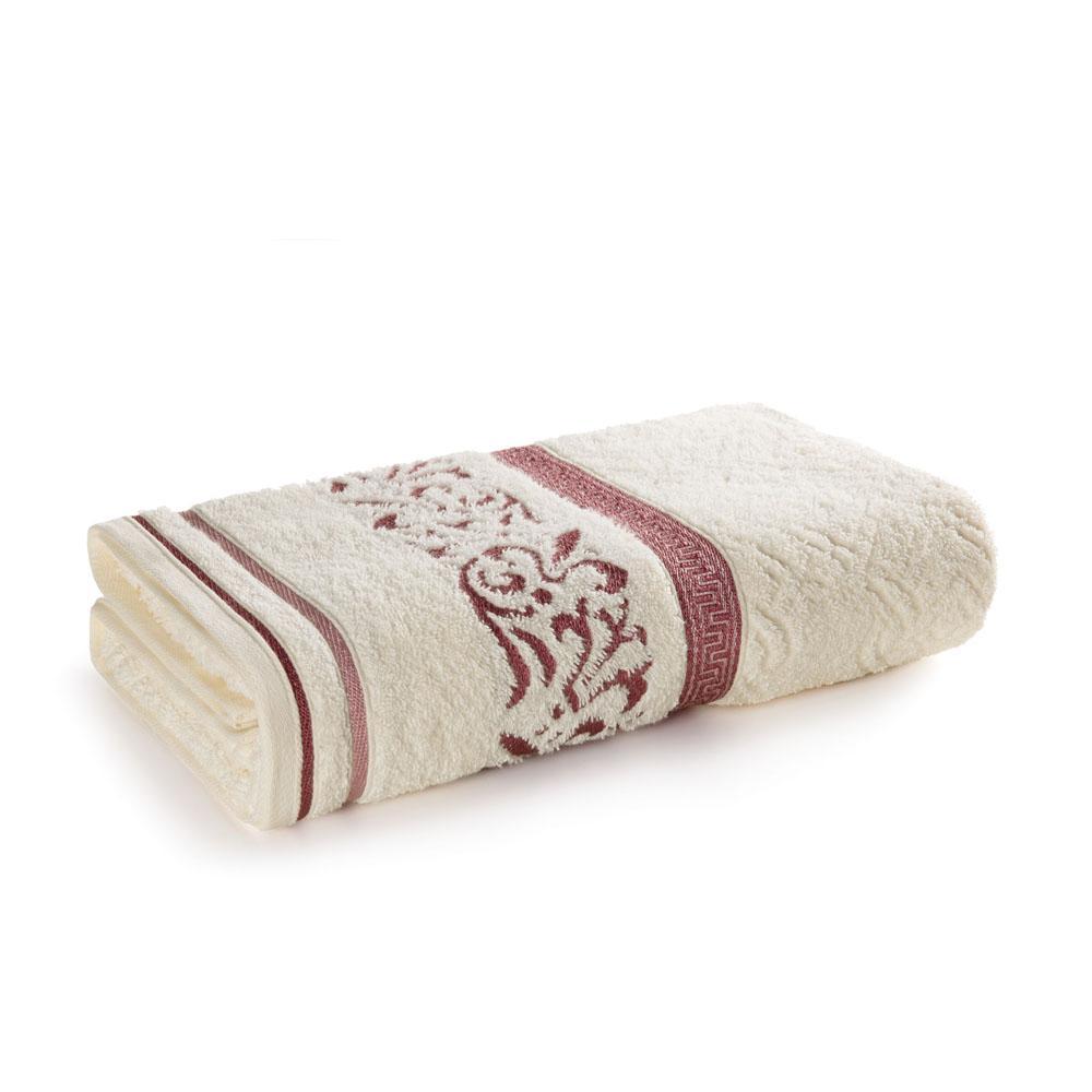 Toalha de Banho Karsten Fio Penteado Núbia Ivory/Rosa
