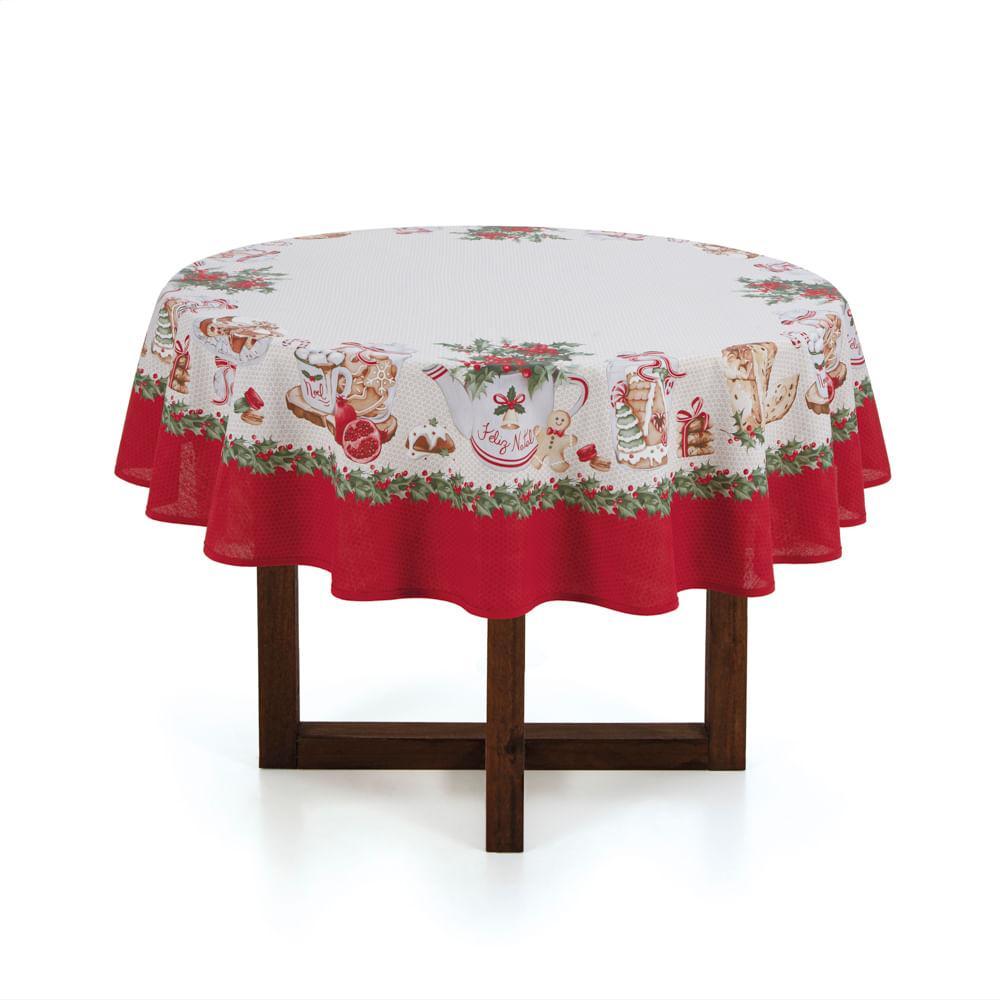 Toalha de mesa de Natal Redonda Karsten 4 Lugares Segredos de Receita