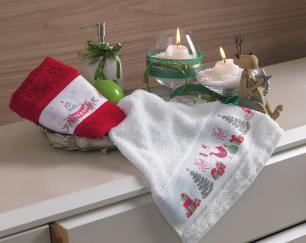 Toalha de Lavabo/ Visita Karsten Magia do Natal Branca