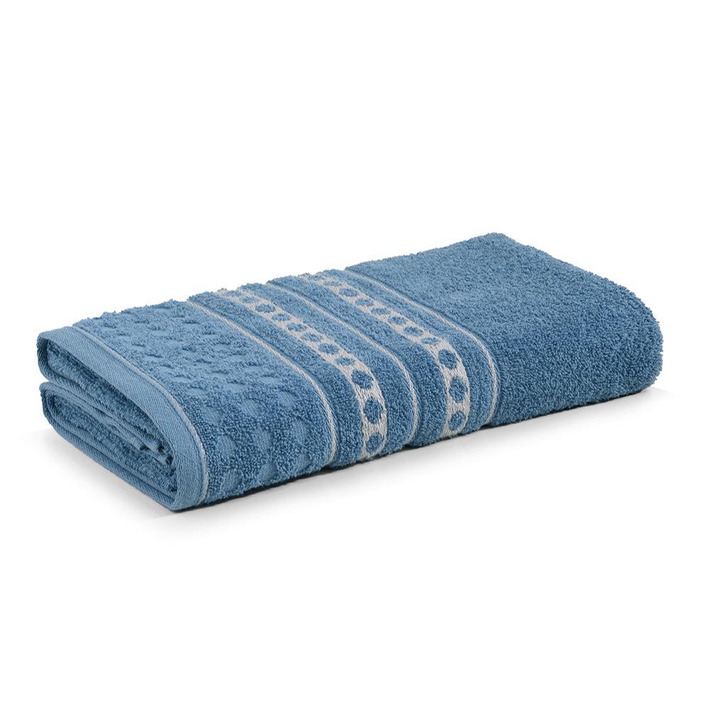 Toalha de Banho Karsten Fio Cardado Emeline Azul Crepúsculo/ Cinza