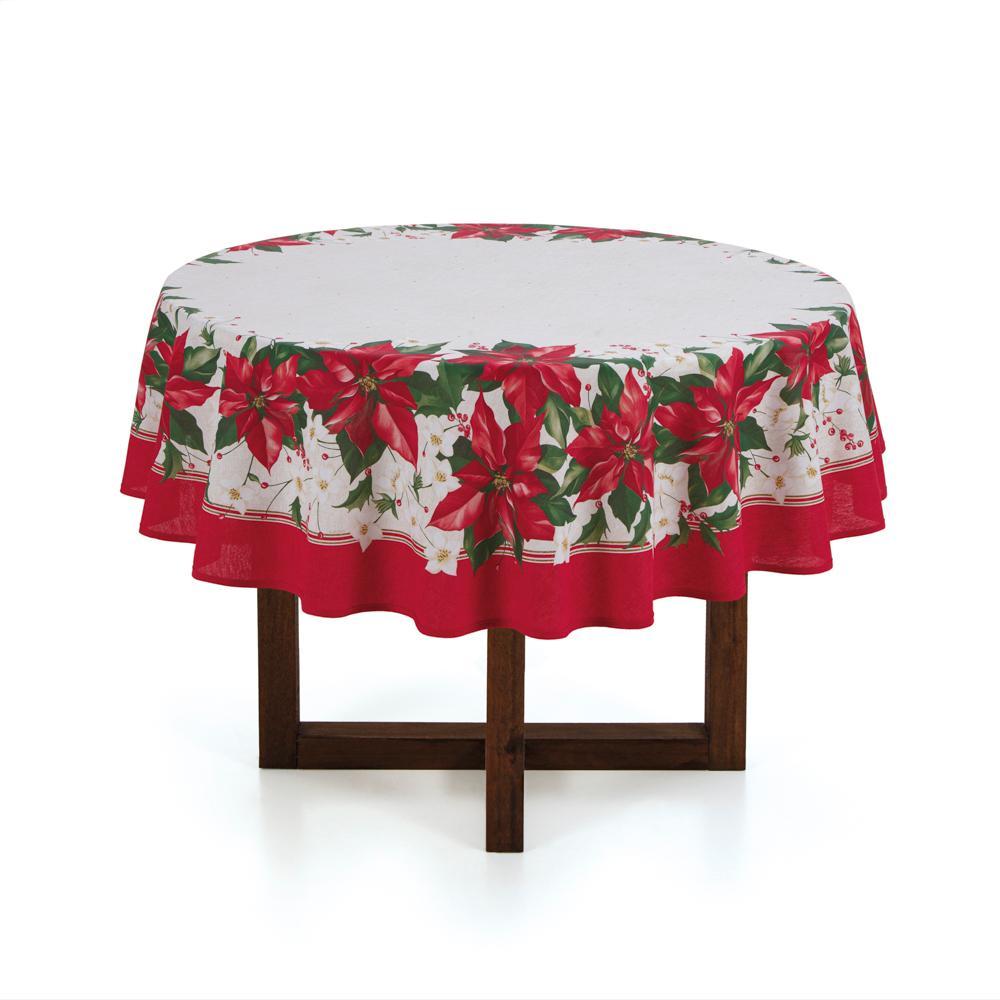 Toalha de mesa Redonda Karsten 4 Lugares Milagres de Natal