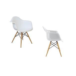 Kit 02 Cadeiras Charles Melbourne com Base de Madeira Branco - Facthus