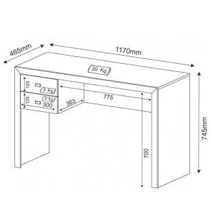 Mesa para Computador ME4123 02 Gavetas Nogal - Tecno Mobili