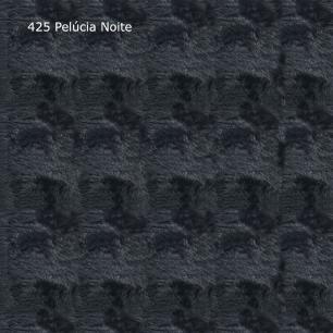 Kit 3 Puffs Antônia Pés Castanho Pelúcia Preto - Tecno Mobili