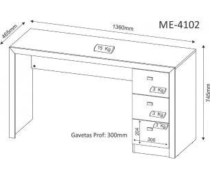 Escrivaninha para Home Office 03 Gavetas ME4102 Carvalho - Tecno Mobili