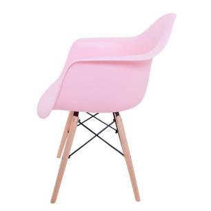 Kit 02 Cadeiras Charles Melbourne com Base de Madeira Rosa - Facthus