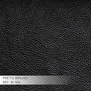 Kit 03 Puffs Decorativos Redondo Pés Metal Couro Preto Brilho - Gran Belo