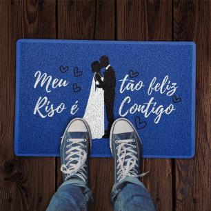 Capacho Feliz Contigo Azul 0,40X0,60M - Beek