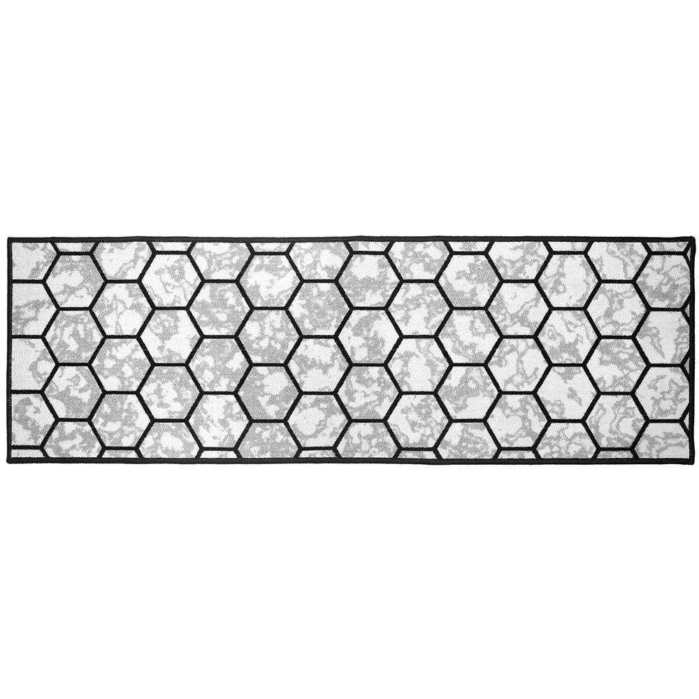 Passadeira de Cozinha Cleankasa Marmore Hexagonal Cinza 0,40X1,50M - Kapazi
