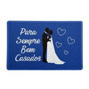 Capacho Para Sempre Bem Casados Azul 0,40X0,60M - Beek