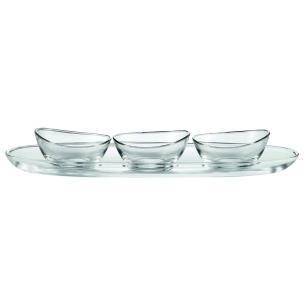 Conjunto para aperitivos vidro 500x34 mm 3 bowls e 1 prato