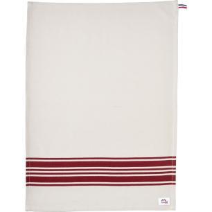 Pano de cozinha 70x50 cm branco com detalhes em vermelho