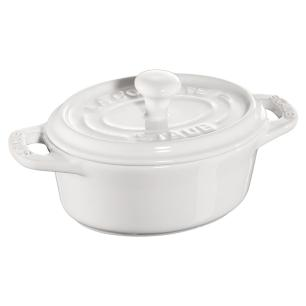 Caçarola oval 11 cm Branca Ceramica