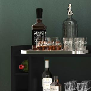 Aparador Bar Com Adega e Rodizio Matteo    - Preto - RPM Móveis