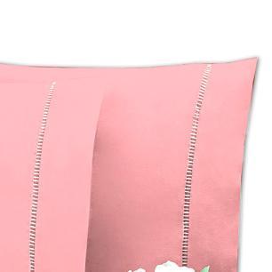 Lençol Sem Elástico Cama Viúva Percal 200Fios Com Vira 35cm Rosê