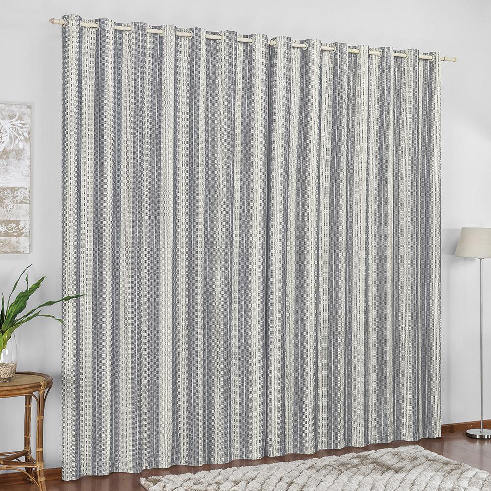 Cortina Sala Quarto 2x1,8m Tecido Rústico Cinza