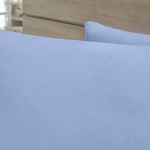 Lençol Sem Elástico Cama Viúva 140Fios Com Vira Algodão-pl Azul