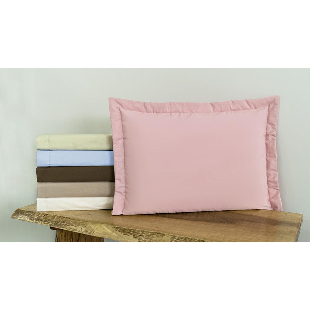 Porta Travesseiro Liso Percal 140 Fios Com Aba Americana Palha