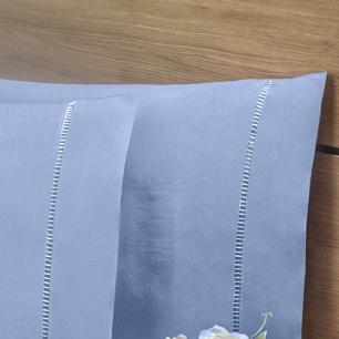 Lençol Sem Elástico Solteiro King 140Fios C Vira Algodão-pl Azul