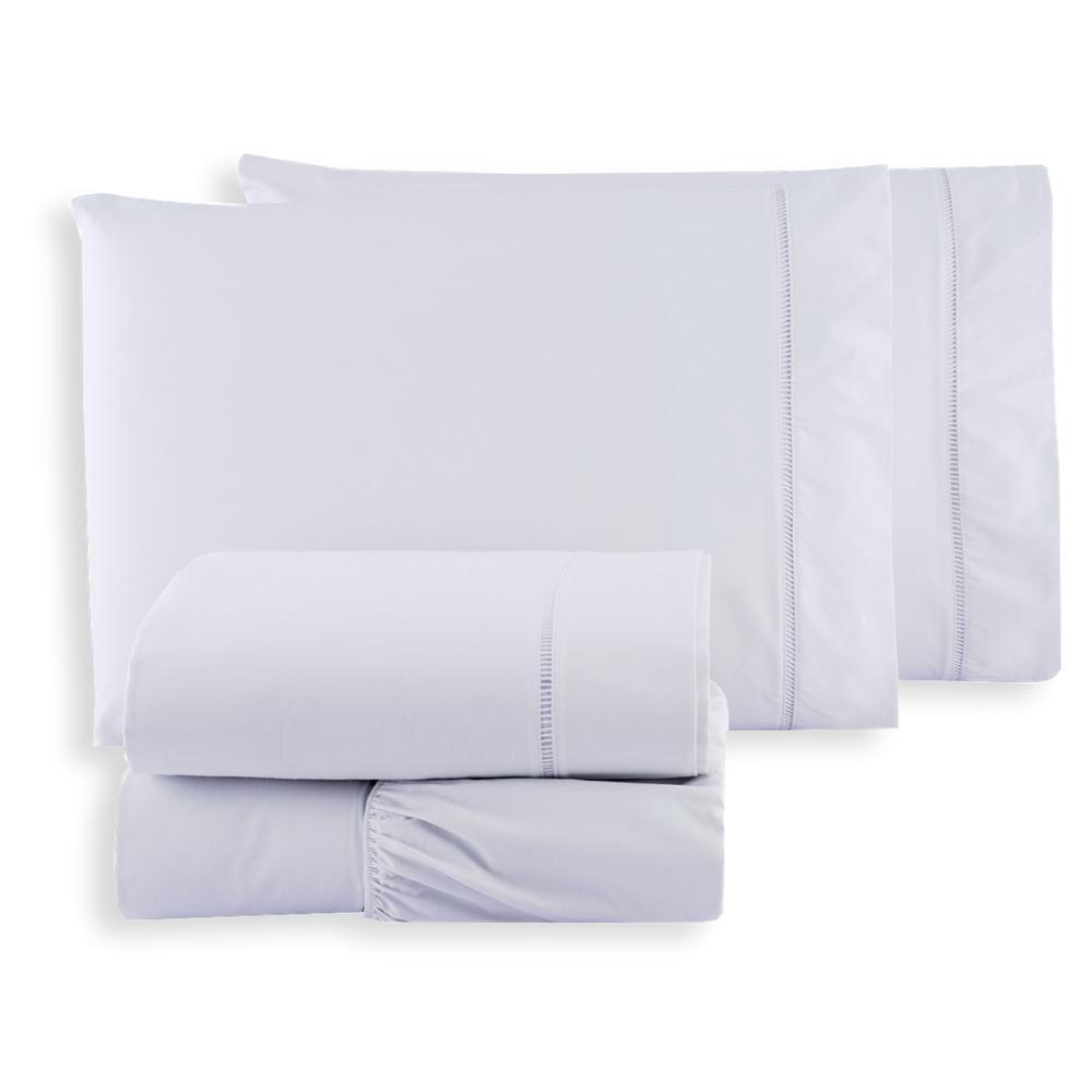 Par De Fronhas 90x50 Percal 400 Fios 100% Algodão Acetinado Ponto Palito Branco