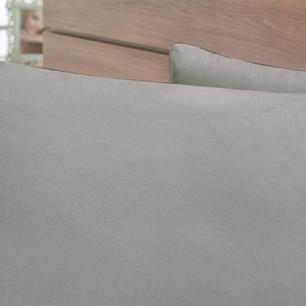 Lençol Sem Elástico Solteiro King Percal 400Fios C Vira 35cm Cinza