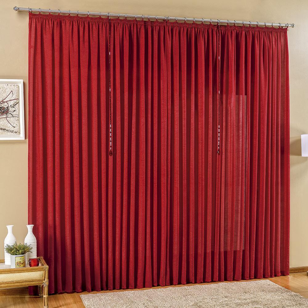 Cortina Sala Quarto Desejos 2x1,80m Lisa Com Pedraria Vermelho