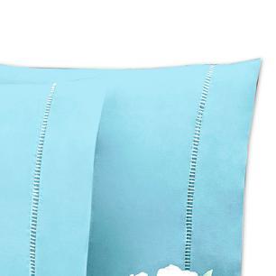 Lençol Sem Elástico Solteiro King Percal 200Fios C Vira 35cm Azul