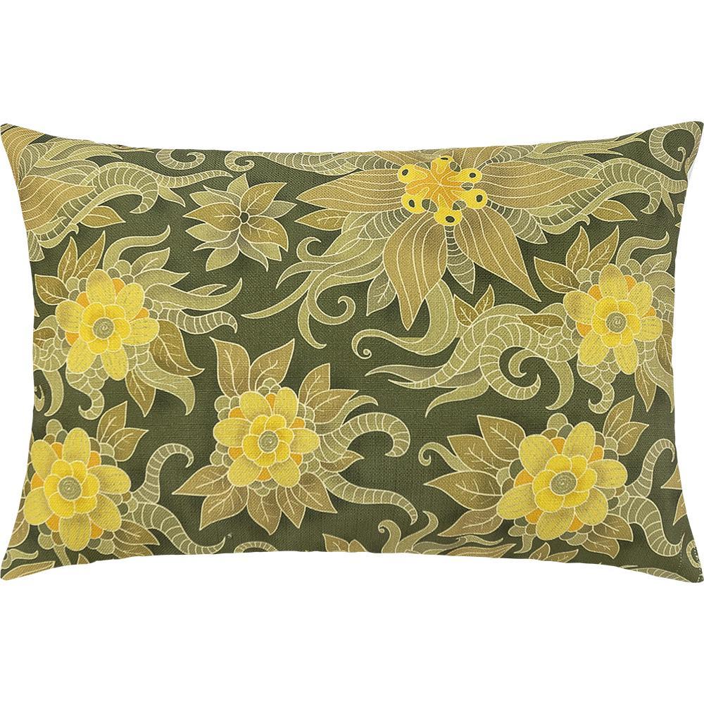 Capa De Almofada Colorida Estampada Verde Floral 55 x 35
