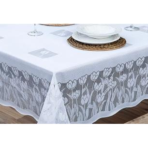 Toalha de Mesa Renda Tulipas Quadrada 1,60x1,60 Branca