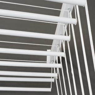 Varal De Parede Individual 10 Varetas Alumínio Branco 70 Cm