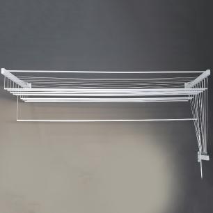 Varal De Parede Individual 10 Varetas Alumínio Branco 100 Cm