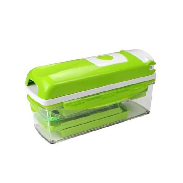 Kit Picador e Cortador de Legumes e Frutas Verde e Branco Multiuso