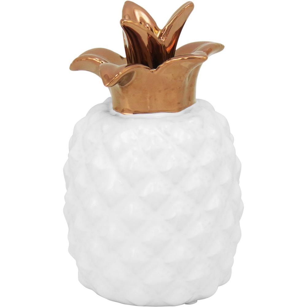 Abacaxi Cerâmica Branco Magical 18X11X11Cm