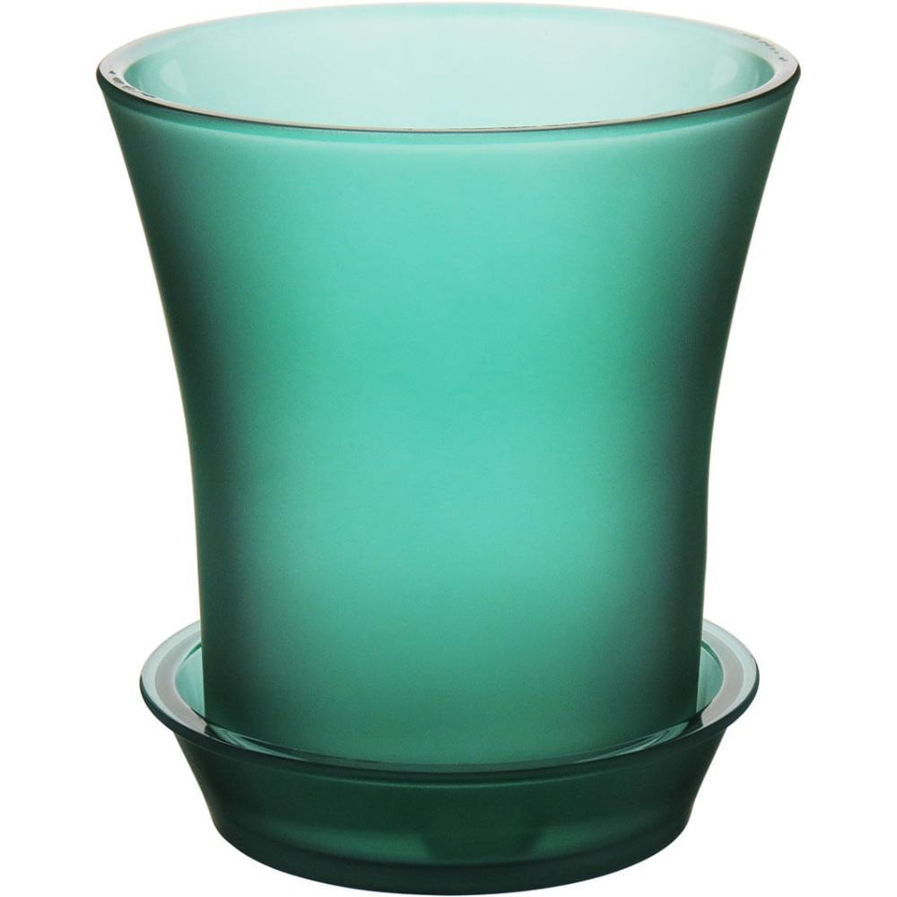 Cachepô Com Prato Vidro Verde Orchid 18X16X16Cm