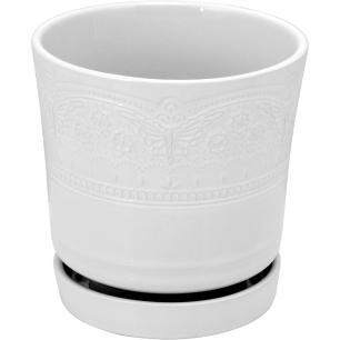 Cachepô 15X15X15Cm Cerâmica Branco Com Prato Sevilla