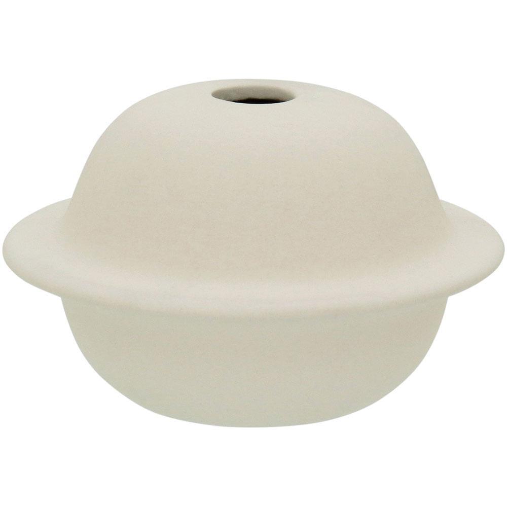 Vaso 7X12X12Cm Cerâmica Branco Joana