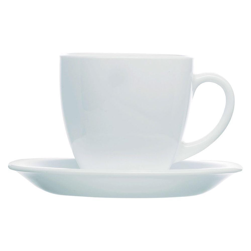 Xícara Chá Vidro Temperado Branco 220Ml Luminarc Carine 8X8X8Cm 6 Peças c/ Pires