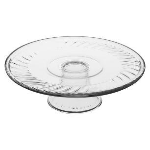 Prato Bolo Com Pé Vidro Transparente Libbey Selene 11X31X31Cm