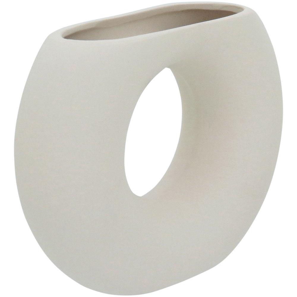Vaso 13X17X5Cm Cerâmica Branco Bella