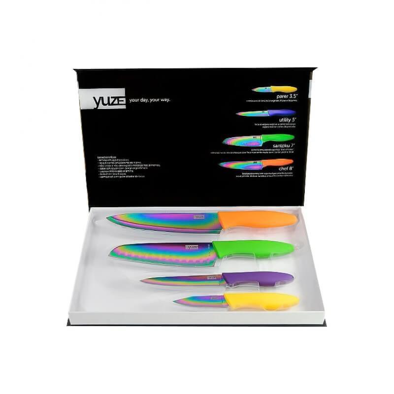 Conjunto de Facas Yuze Titanium Coloridas Inox Revestidas em Titânio 4 Peças