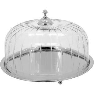 Prato Bolo Tampa Vidro Metal Home&Co Ghalyela 18X28X28Cm